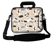 "Coffee And Biscuit Type Netbook Carry Satchel Handle Sling Case Neoprene10""13""14""15""17""  Laptop Shoulder Sash Bag  For  Dell HP"