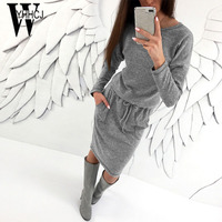 WYHHCJ 2017 New Warm Knit Women Sweater Dresses O Neck Solid Autumn Winter Dress Bodycon Pockets