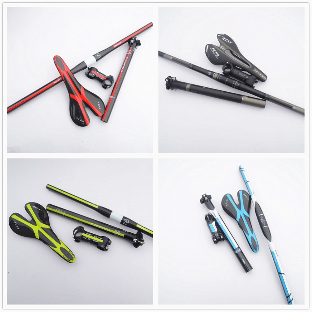 fast ship 2016 new FCFB FW carbon mountain bike carbon handlebar set = Stem +seatpost+ handlebar +seat saddle =1 lot sales 2015 new fcfb fw carbon handlebar black grey kit mtb mountain rise handlebar alu carbon stem seatpost road bike
