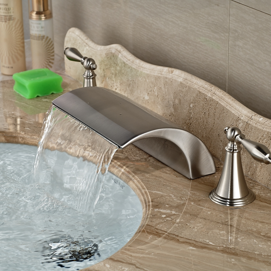 Wholesale And Retail Brand New Roman Waterfall Brushed Nickel Bathroom Faucet 3 Holes Vessel