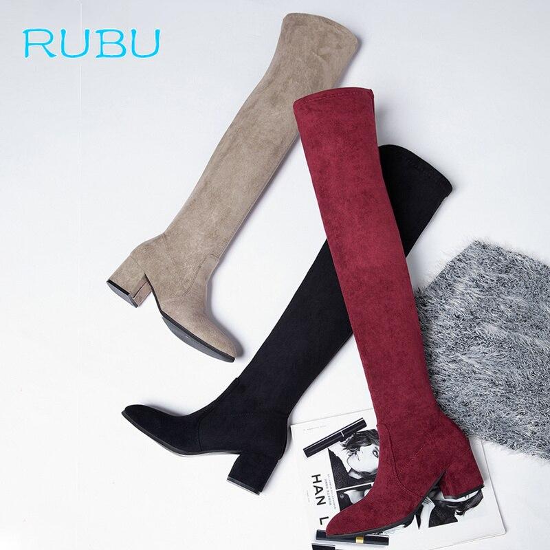 Sobre vino Zapatos Negro 2018 Apretado Mujer gris Rodilla Botas Tacón Tinto Medias La Estiramiento Femenino Invierno Alto Grueso wnanAtqS
