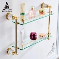 Vidricshelves латунь двойной Слои Стекло настенные полки для хранения косметический держатель для душа стенд Аксессуары для ванной комнаты Для в