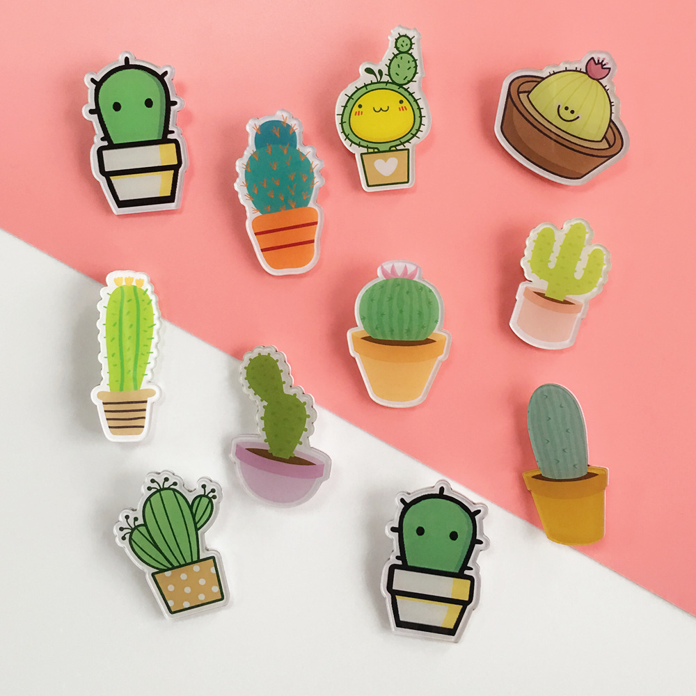 1 PC color icon Acrylic kawaii cartoon badge pin badge backpack decorative bag pin icon in Pins Badges from Home Garden