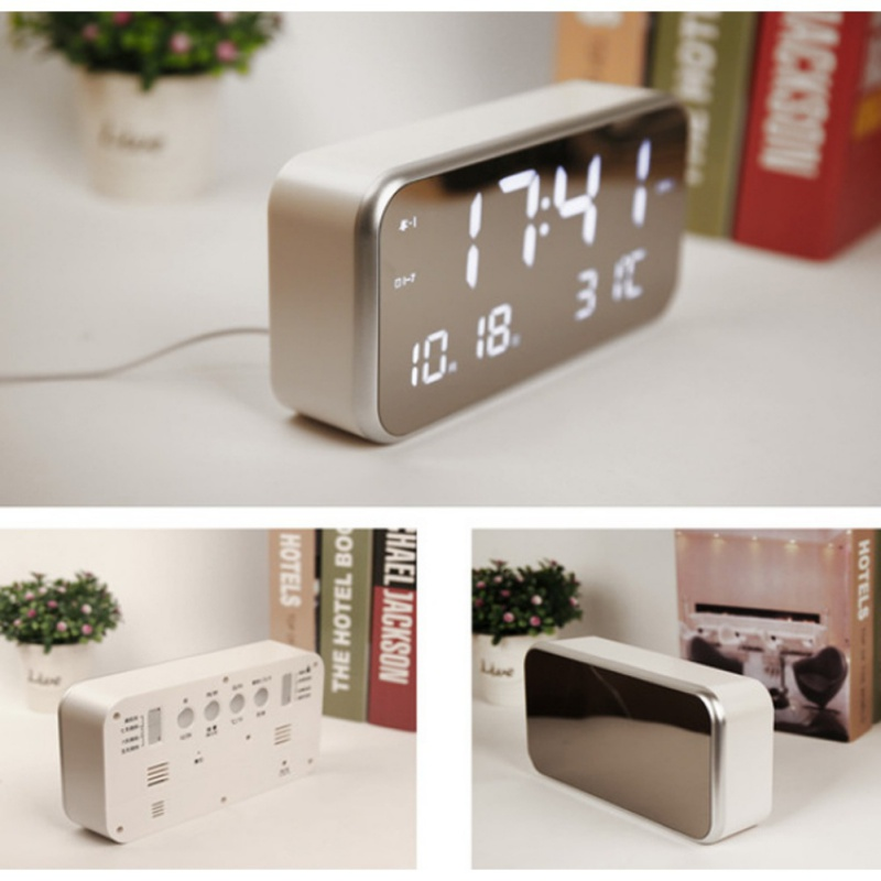 LED mirror Alarm Clock 2018 new Multifunction Digital Electronic LED Mirror clock with Temperature Snooze Calendars function