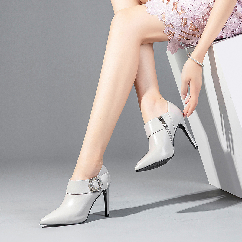 WETKISS 2019 Spring New Crystal Cow Leather Women Pumps Pointed Toe Footwear Zip Female Shoes Office High Heels Shoes Woman