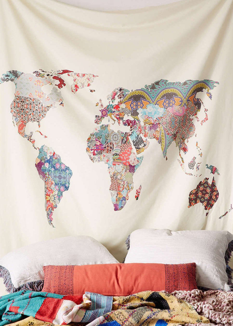 Enipate floral world map tapestry european and american style beach enipate floral world map tapestry european and american style beach towel headboard wall art bedspread dorm gumiabroncs Image collections
