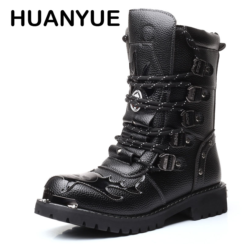 купить Winter Army Boots Men High Military Combat Boots High Top Leather Martin Botas Metal Buckle Punk Mid Calf Male Motorcycle Boots онлайн