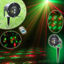 Best RG 12 Patterns Red Green Christmas Lights Garden Laser Projector Outdoor Waterproof Xmas Tree Holiday Party Landscape Light