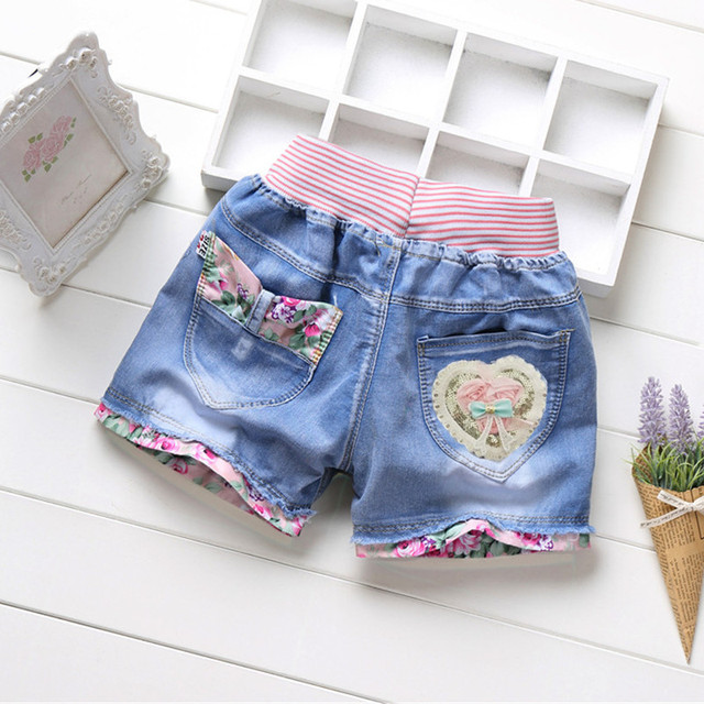 Girls' Denim Shorts with Elastic Waist