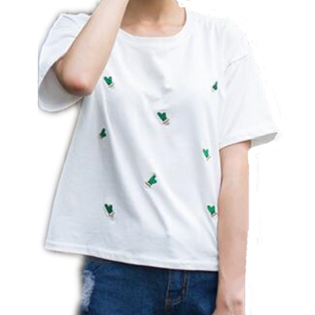 korean summer short sleeve t-shirt women cactus embroidery loose cropped tops white and pink wild casual short t shirt femme