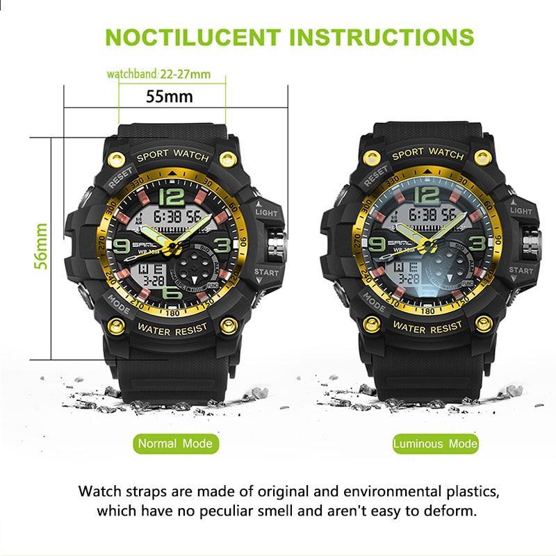 2017 SANDA Dual Display Watch Män G Style Vattentät LED Sport - Herrklockor - Foto 5