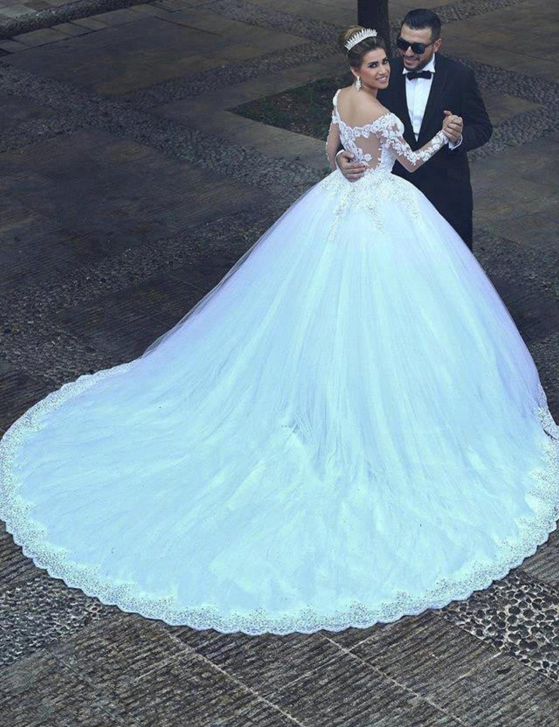 Mhamad Designer Long Sleeves Wedding Dresses Arabic Beaded Lace Ball ...
