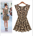 2016 New Fashion Women Clothing Round Crew Neck Leopard Pleated Casual Short Ruffles Sleeve One Piece Dress Vestidos Femininos