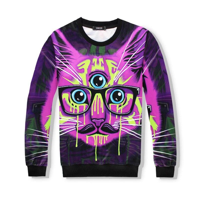 7ce0d682690e 2017 Brand Clothing Fashion 3D 2 Piece Tracksuit Set Sweatshirt  Hoodies+Sweatpants Print Three Eyed Purple Cat Unisex Men Women