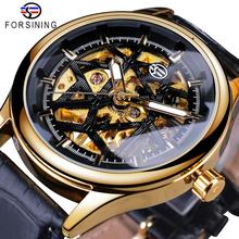 Forsining Retro Fashion Golden Black Dial Seleton Clock Male Luminous Hands Mens Mechanical Wrist Watches Top Brand Luxury