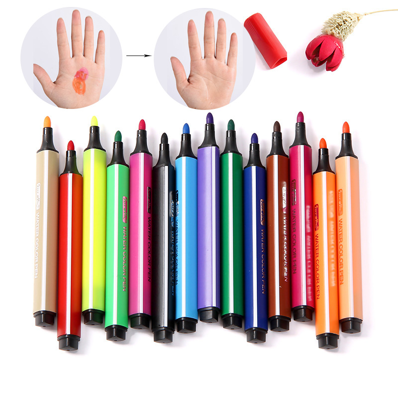 Niños dibujo 12/18/24/36 colores no tóxico lavable acuarela rotulador para niños pintura seguro no tóxico materiales de arte