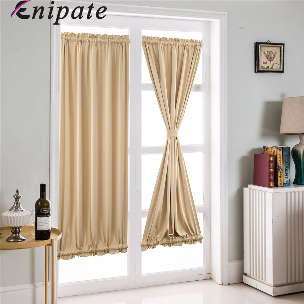 Enipate 1 Pc French Door Curtains Blackout Patio Door/Glass Door Curtain Panel For Privacy 1 Panel Ployester Home Decoration