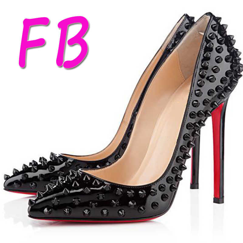 best cheap 9830a 5435e Red Bottom High Heels Studded Spike Rivets High Heels Woman Pointed Nude  Pointed Pumps Patent Leather Large Size EU42
