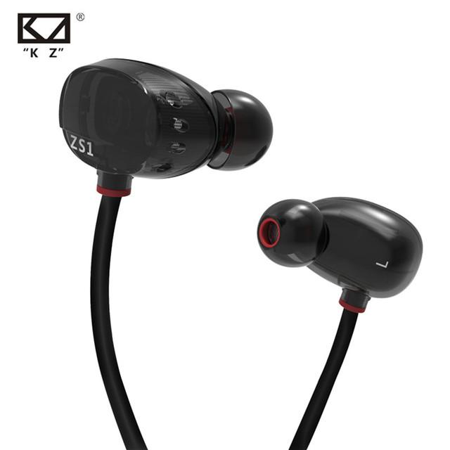 KZ ZS1 Fone de Ouvido Dual Driver Dinâmico de Monitoramento Monitor de fone de Ouvido Com Cancelamento de Ruído Fones de Ouvido Estéreo HiFi Fone de Ouvido Com Microfone para Telefone