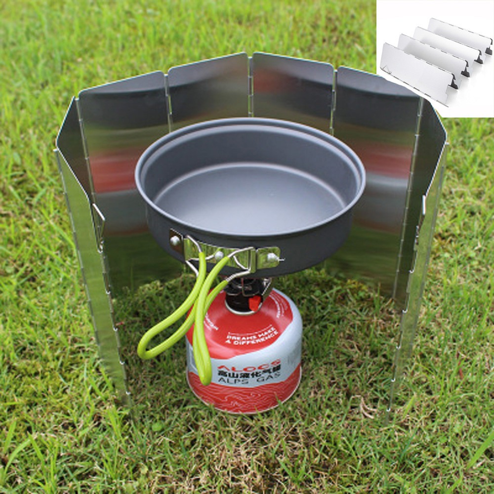 Outdoor 8 Plates Folding Camping Picnic Cooker Stove Wind Screen Windshield Sport Travel Hiking Picnic Waterproof #3S27