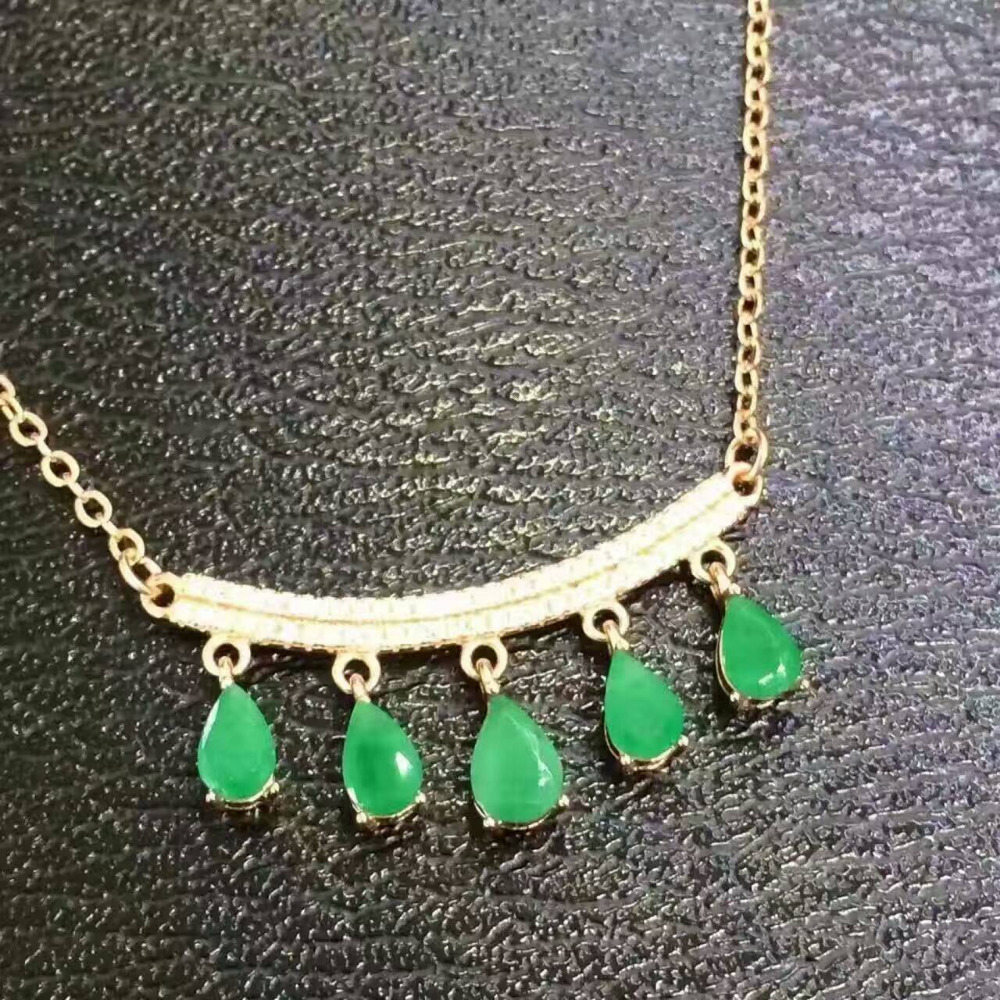 Natural green emerald gem Necklace Natural gemstone Pendant Necklace 925 sliver Elegant Cute smiley face women girl gift Jewelry