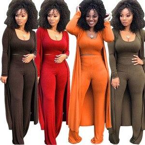 Women Casual Pants Suits Crop Top Tank Wide Loose Leg Pants Long Sleeve Coat Skinny Bodycon 3PCS Sets Female Three Piece Sets