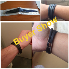 Stainless Steel Leather Bracelets Braided Rope Magnetic Clasp Male Bangles