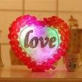 El amor Del Corazón de Rose Cojín LED Intermitente Juguete de Peluche de Regalo de Boda de San Valentín Día Presente Luz Luminosa Muñeca 38 cm
