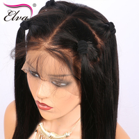 Elva Hair Straight Brazilian Pre Plucked Lace Front Wig Human Remy Hair Natural Black Color 10
