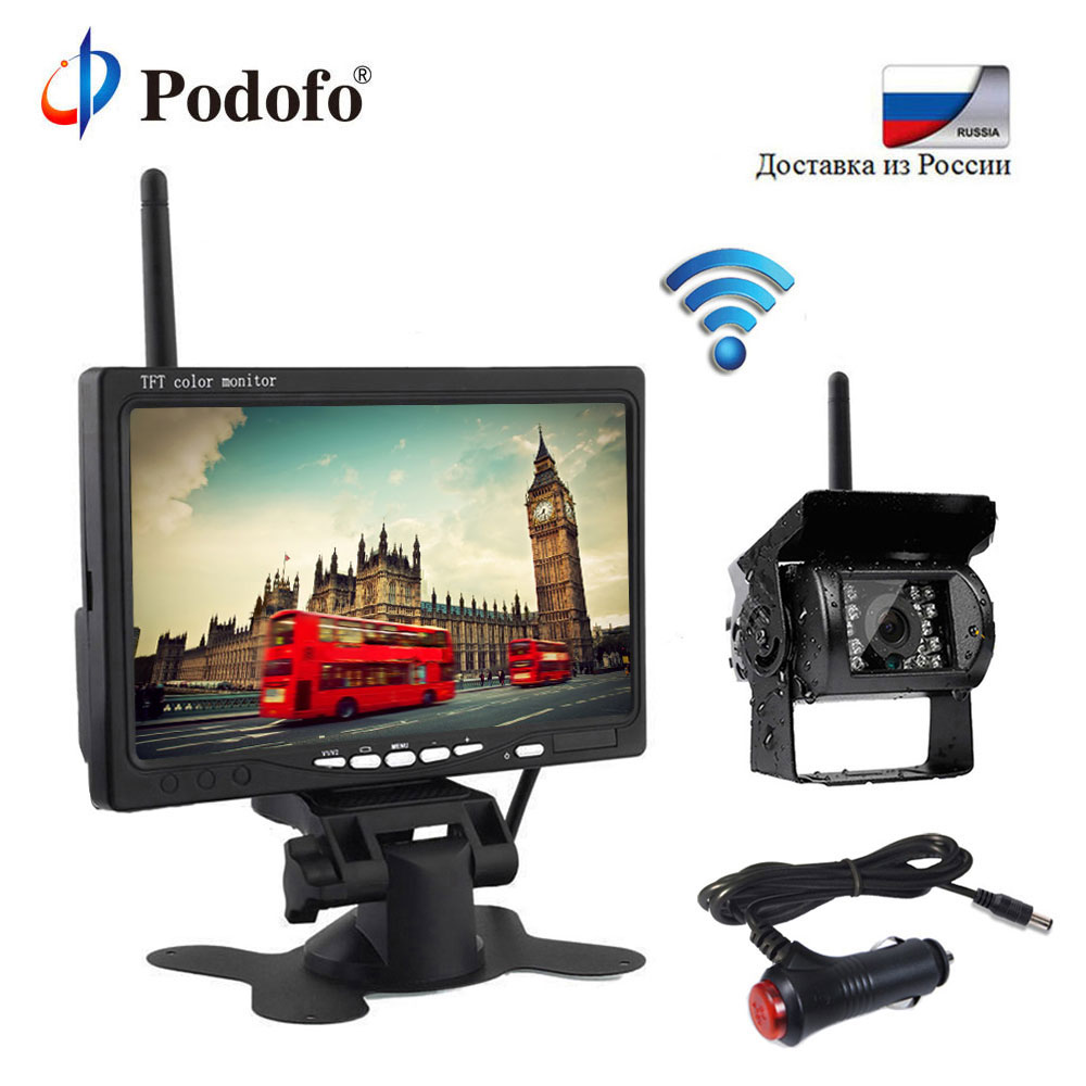 Podofo Wireless 7 HD TFT LCD Vehicle Backup Rear View Camera Monitor Parking System with Car Charger For Truck RV Trailer Bus podofo wireless truck vehicle car rear view backup camera 7 hd monitor ir night vision parking assistance waterproof for rv rc