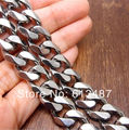 "8""~38"" 15MM Heavy Cool Silver Stainless Steel Men's Curb Cuban Chain Necklace Bracelet, New Arrived Jewelry For Strong Husband"