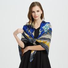 2019 Twill Silk Scarf For Women Fashion Printed Big Hijab Scarfs Female 130cm Luxury Square Shawl Neckerchief Scarves For Ladies