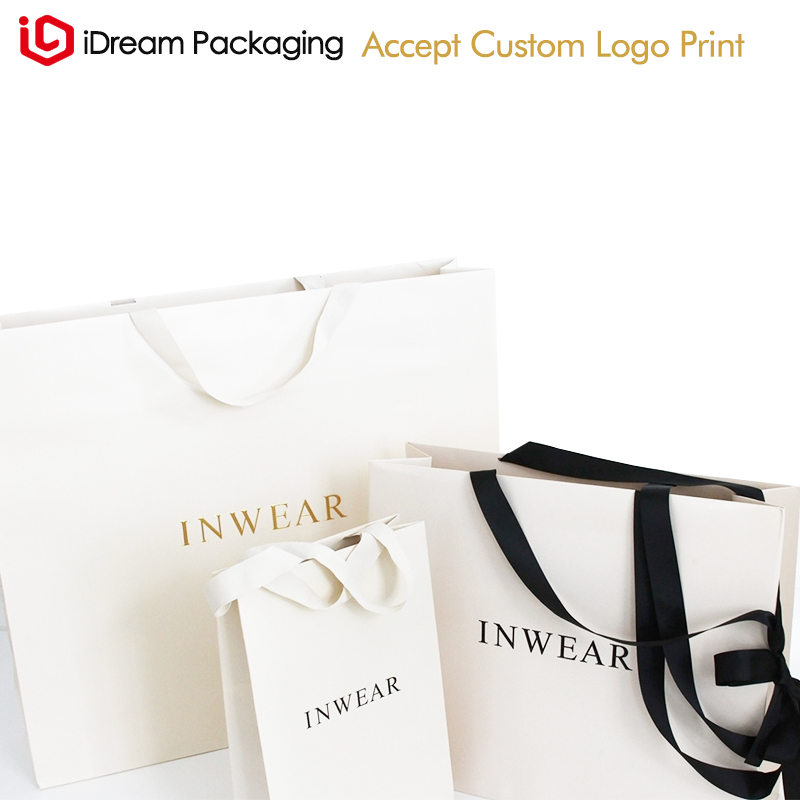 Elegant Logo Gift Bags With Satin Ribbon Personalized Paper For Your Business Party Presentation Details