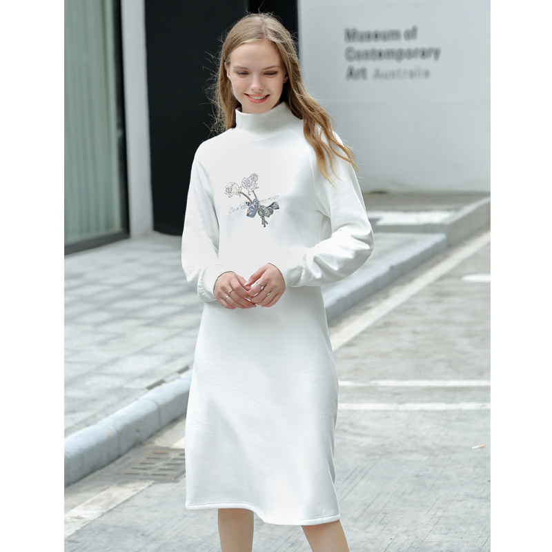 Amii Preppy Style Turtleneck Sweatshirt Dress Autumn Women 2018 Casual Floral Embroidery Solid Cotton Female Winter