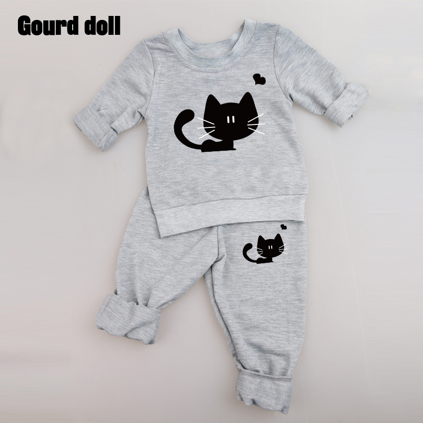 Gourd doll 2017 New baby girl clothing set long sleeve cat fashion T-shirt+pants 2pcs/suit outfits newborn baby boy girl clothes newborn infant girl boy long sleeve romper floral deer pants baby coming home outfits set clothes
