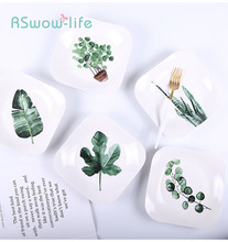 Nordic Simple Tableware Green Plant Ceramic Plate Creative Square Home Western Steak Fruit Kitchen Supplies