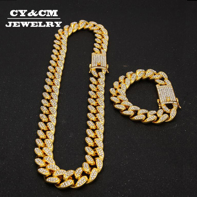 Hip Hop Necklaces Iced Out Crystal Rhinestone Miami Cuban Chain Gold Silver Color Zircon Necklace Bracelet Set for Mens Women