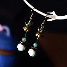 Длинные Модные Цветные глазурованные белые античные Висячие серьги для женщин, этнический стиль,, Винтажные висячие ювелирные изделия из натурального камня