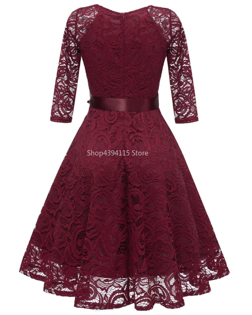 2019 осенние кружевные платья Femme 3/4 рукав v-образный вырез женское красное платье открытая женская одежда плюс размер 2XL Vestidos de Festa