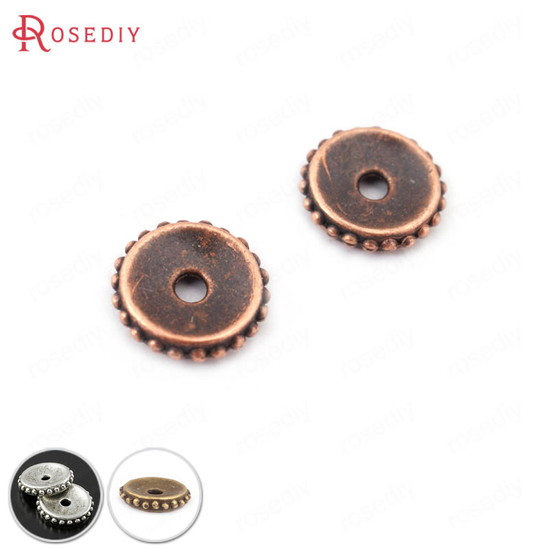50PCS 6MM 9MM 11MM Antique Copper Plated Zinc Alloy Spacer Beads Diy Jewelry Findings Accessories