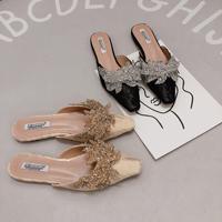 Women Rhinestone Mules Flat Heel Slip on Slides Lady Crystal Slippers Lace Upper Material