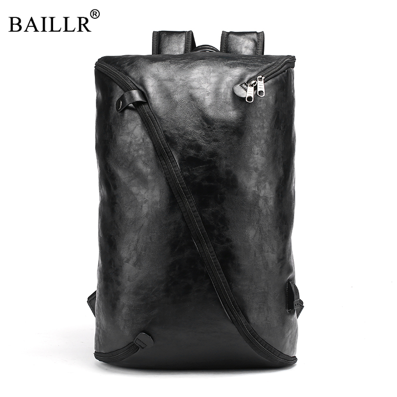 e6810ba915ec New Trend Fashion PU leather Men Backpack Casual Black Backpack  Multifunction Boy School Bag Large Capacity Male High Quality
