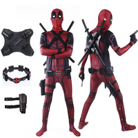 2018 Deadpool Costume Adult Man Spandex Lycra Zentai Bodysuit Halloween Cosplay Suit Belt Headwear Mask Sword holster