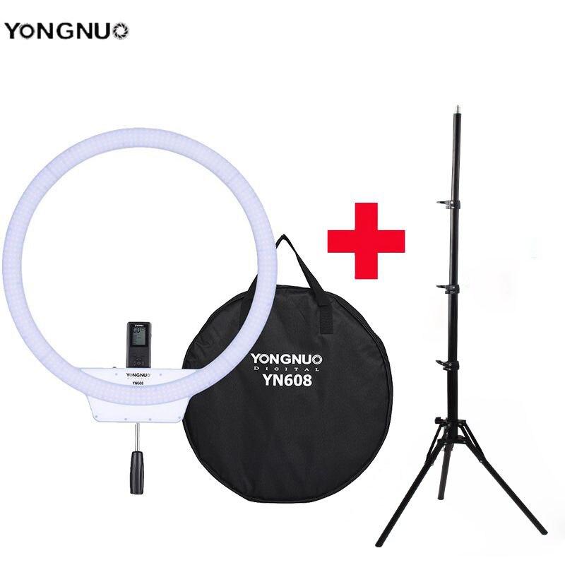YongNuo YN608 Selfie Ring Light 3200K~5500K Bi Color Temperature Wireless Remote LED Video Light CRI>95 with Handle Grip Tripod