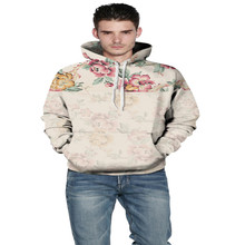 The new 2017 autumn and winter clothing printing 3 d fleece sets the middle fashion loose hooded fleece couples movement