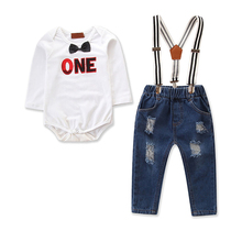 Cute 1st Birthday Outfit for Boy Cake Smash 2pcs Set Long Sleeve Letter Print Romper Suspender Pants Baby