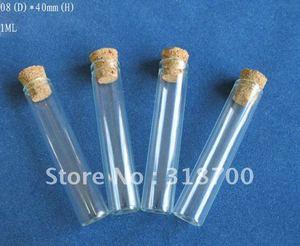 Image 1 - 100x1 ml mini glazen buis met houten kurk 8*40mm kleine kurk flesjes kurk afgesloten buis 0.5 ml totdat 50 ml is beschikbaar