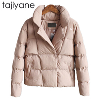 TAJIYANE 2018 New Fashion Spring And Winter Solid Color Female Jacket Collar Down Cotton Long Sleeved Short Woman Jacket LD035