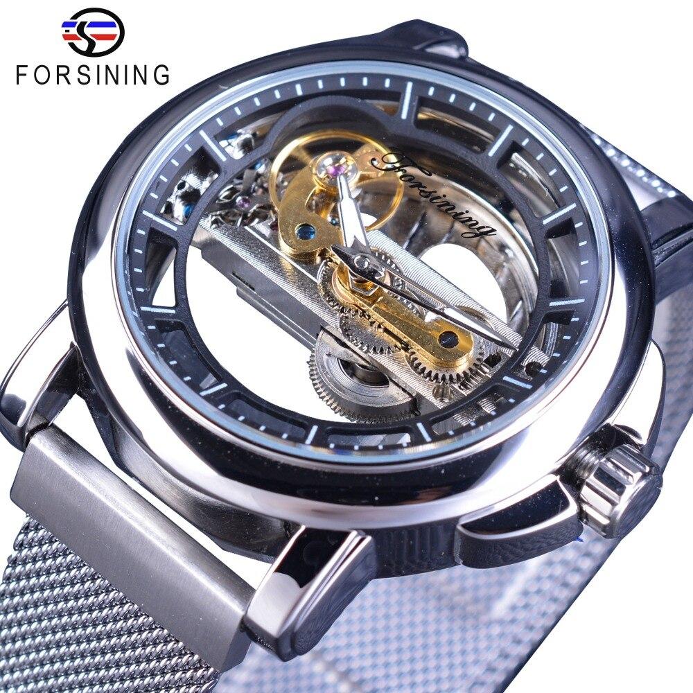 Forsining mode entreprise conception argent maille bande Double face Transparent hommes montre Top marque luxe automatique squelette montres