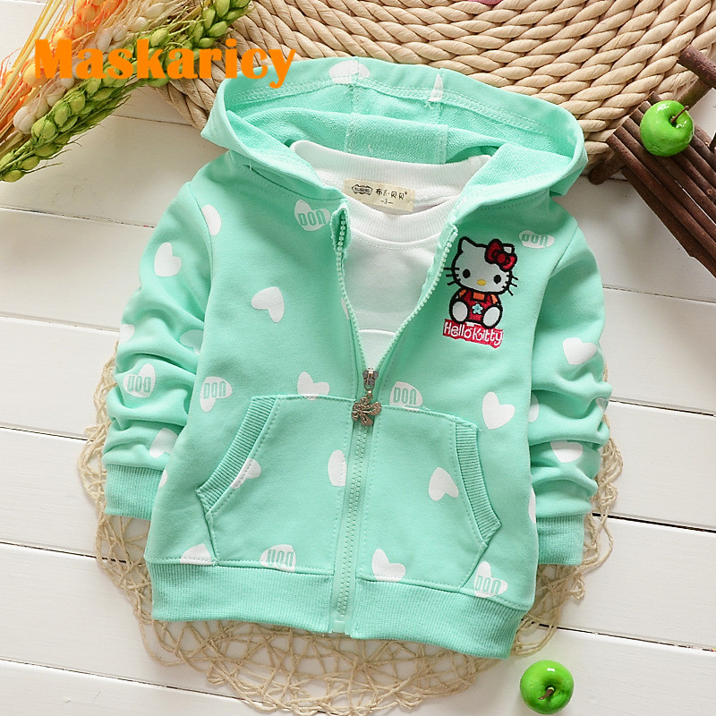 Baby Girls clothes cotton top fashion hooded character outerwear cardigan clothing dot hoodie hello kitty Sweatshirts